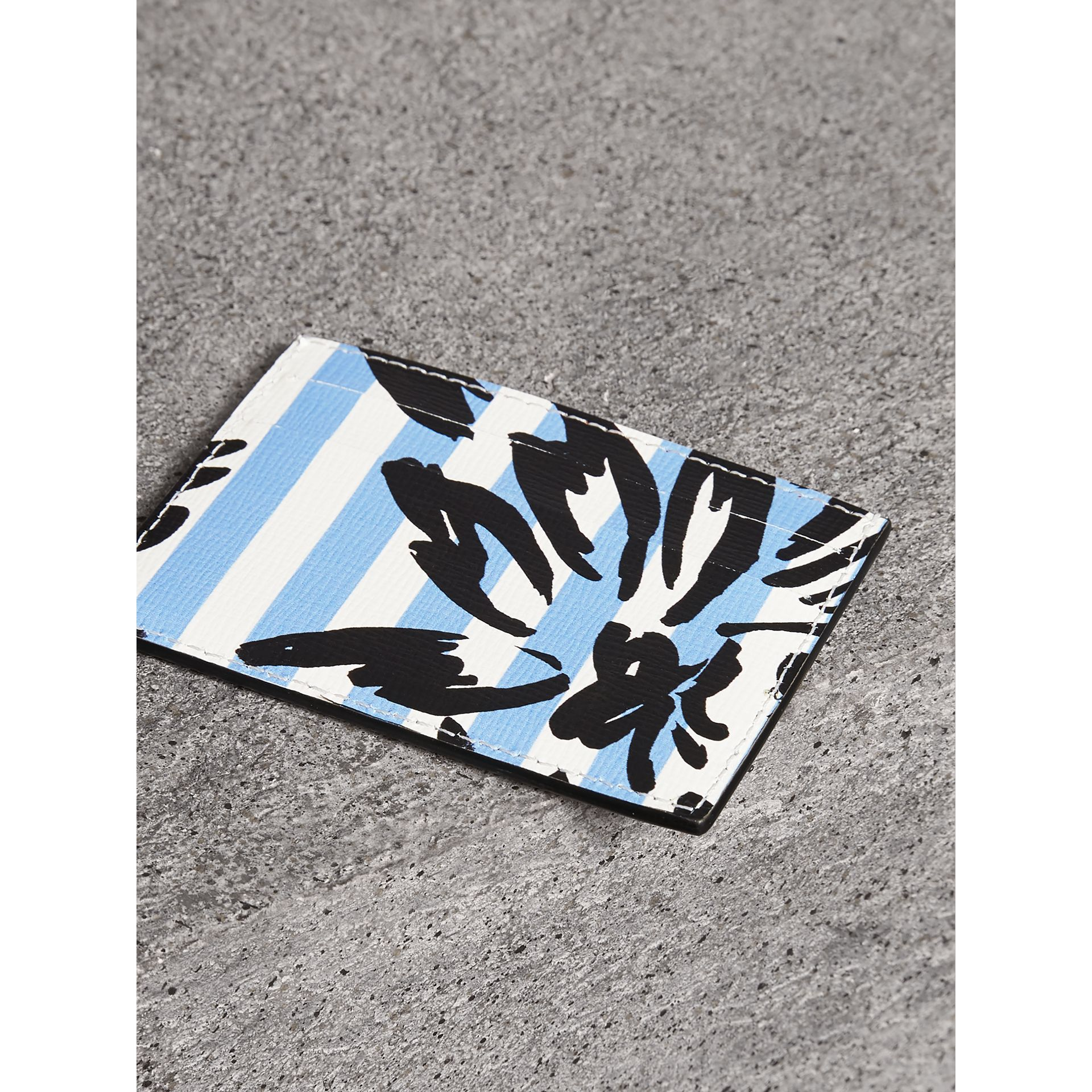 Floral Stripe Print Leather Card Case in Patchwork | Burberry - gallery image 2