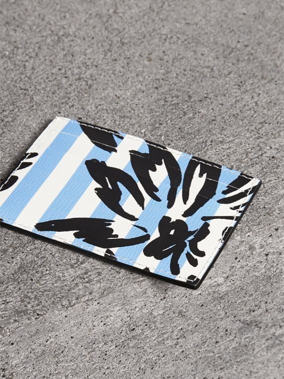 Floral Stripe Print Leather Card Case in Patchwork | Burberry - cell image 2