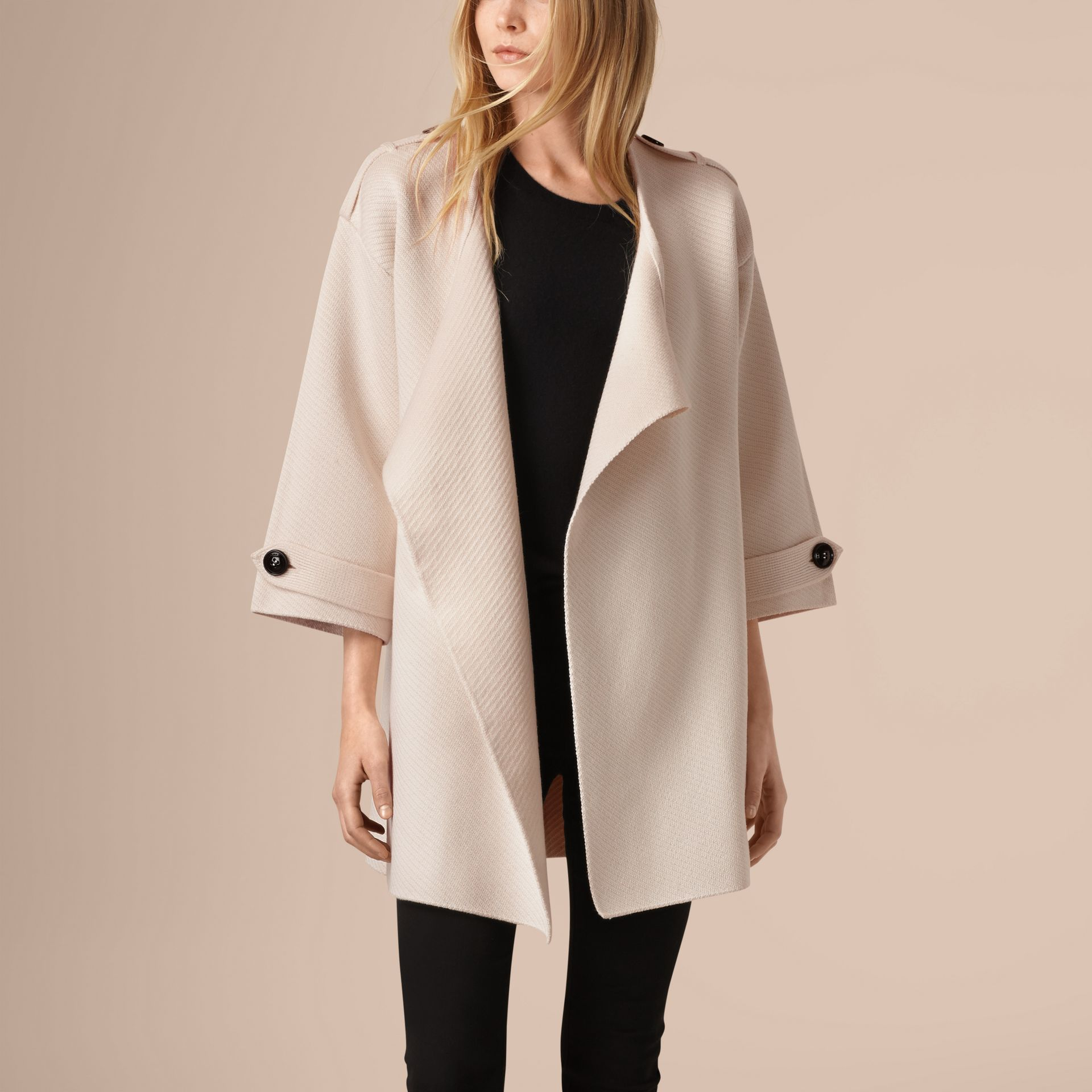 Natural white Knitted Silk Wool Cashmere Blend Jacket - gallery image 4