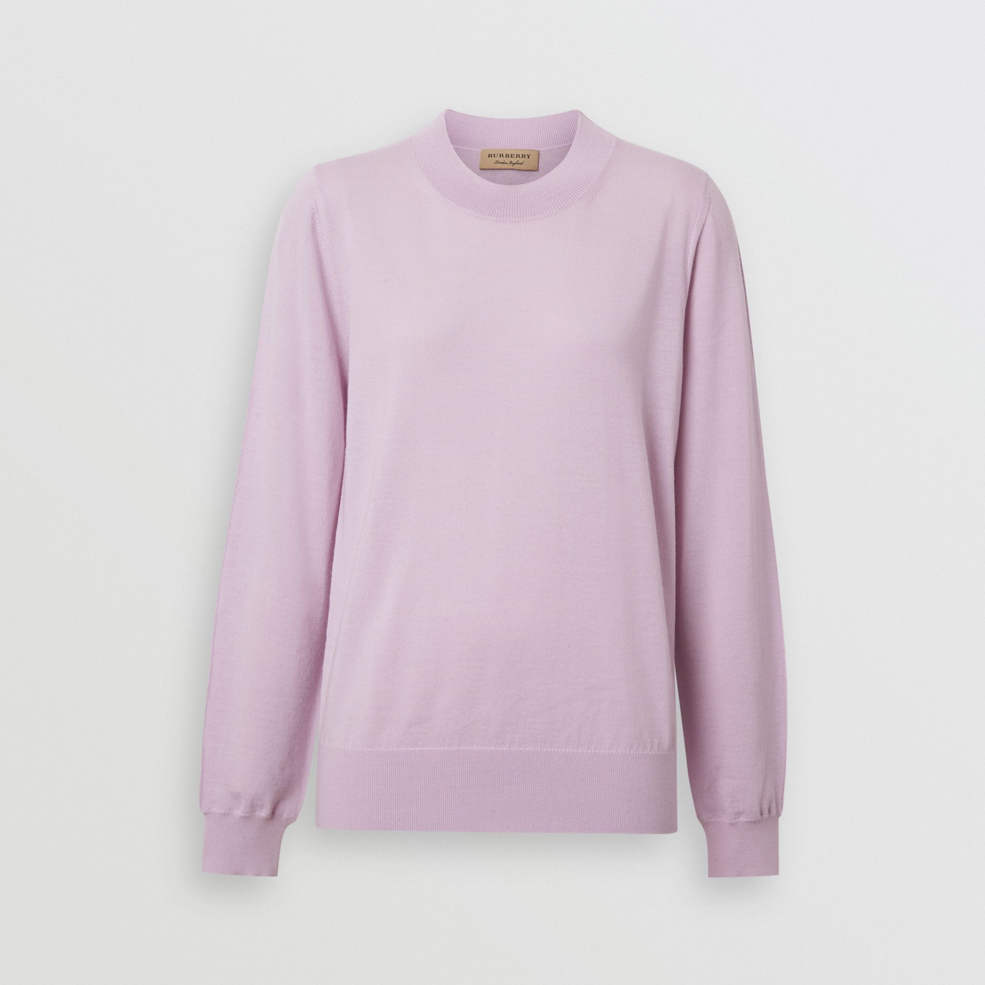 Logo Detail Merino Wool Sweater in Pale Heather - Women | Burberry Australia - gallery image 3
