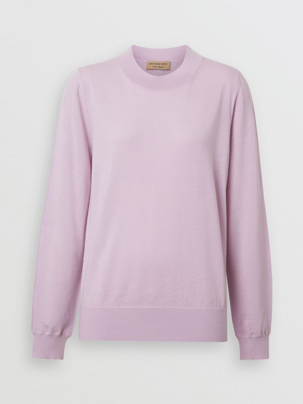 Logo Detail Merino Wool Sweater in Pale Heather - Women | Burberry Australia - cell image 3