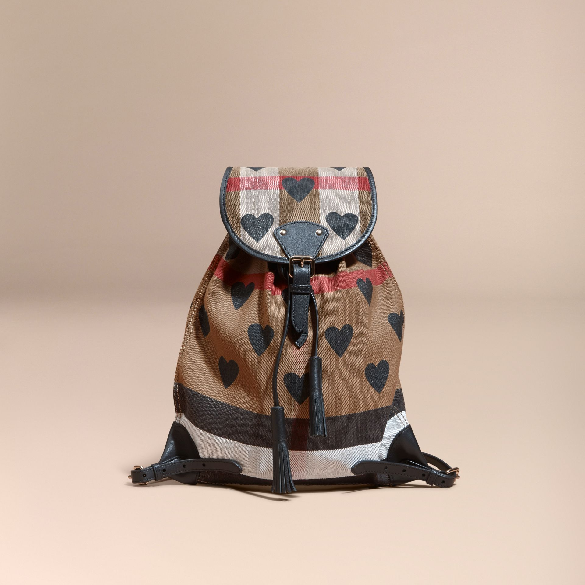 Black Heart Print Canvas Check Backpack with Leather Trim Black - gallery image 9