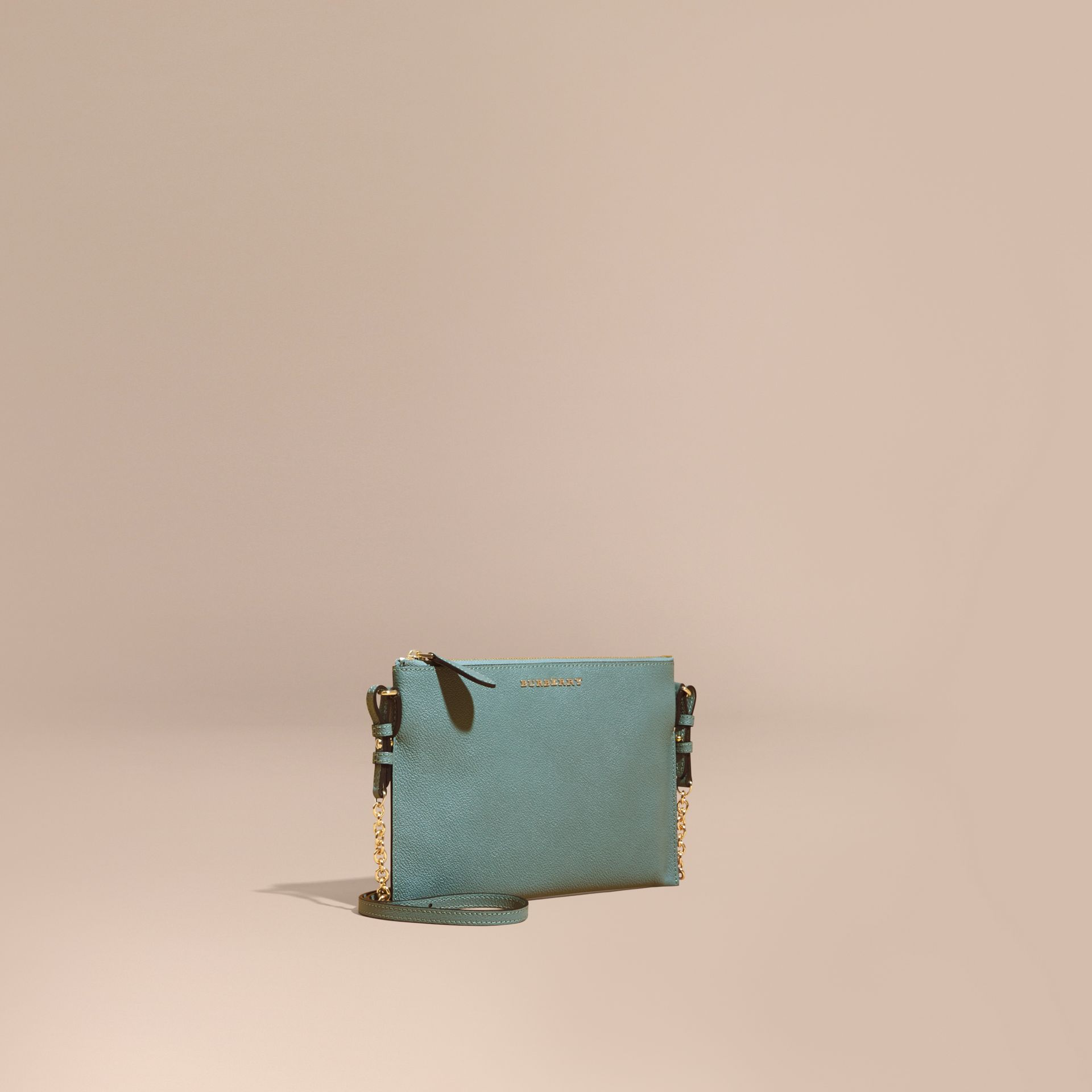 Leather Clutch Bag with Check Lining Eucalyptus Green - gallery image 1