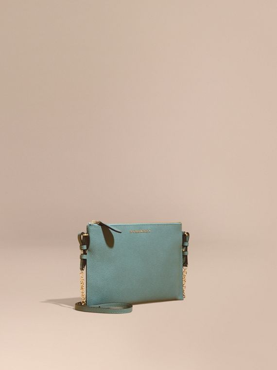 Leather Clutch Bag with Check Lining Eucalyptus Green