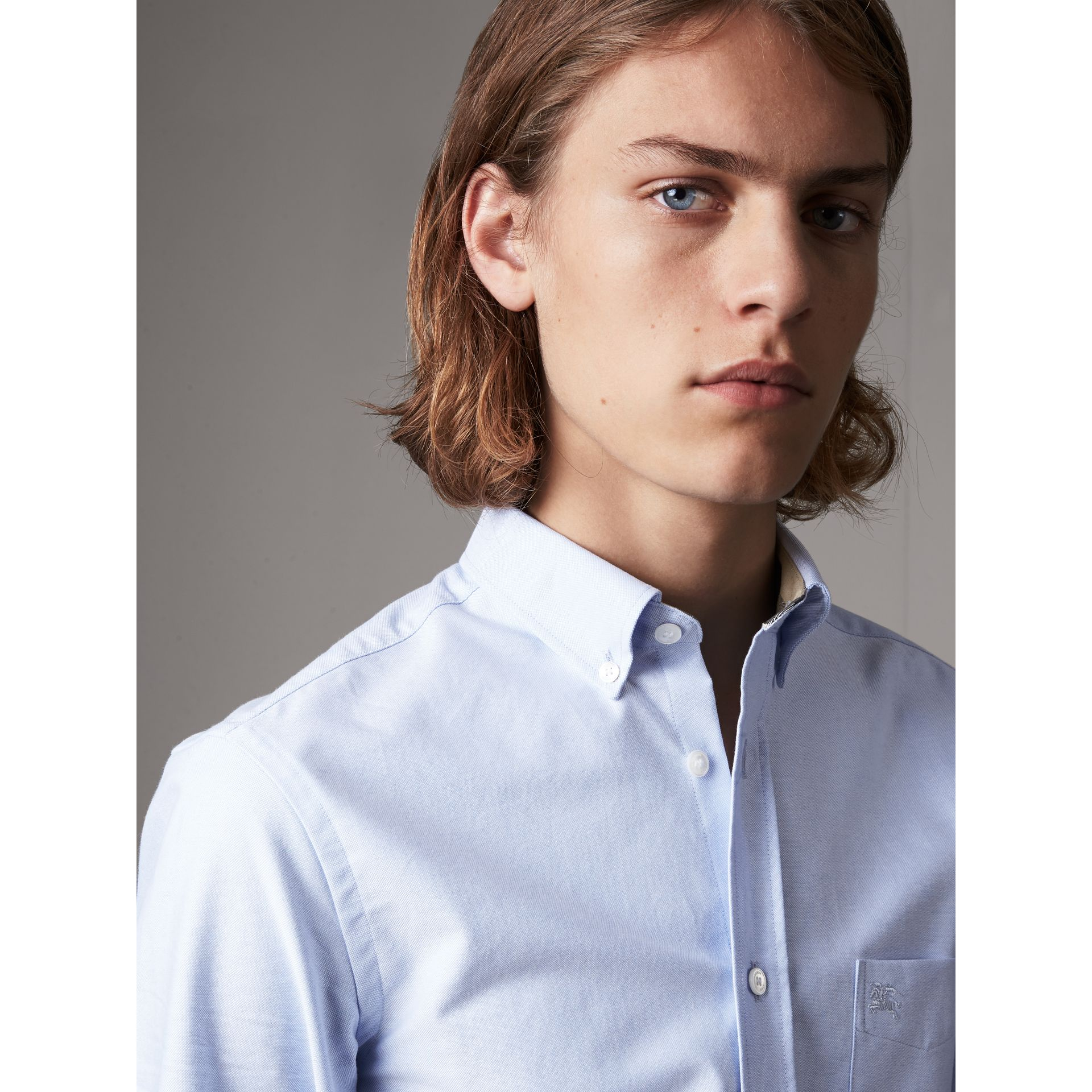 Check Detail Cotton Oxford Shirt in Cornflower Blue - Men | Burberry Canada - gallery image 1