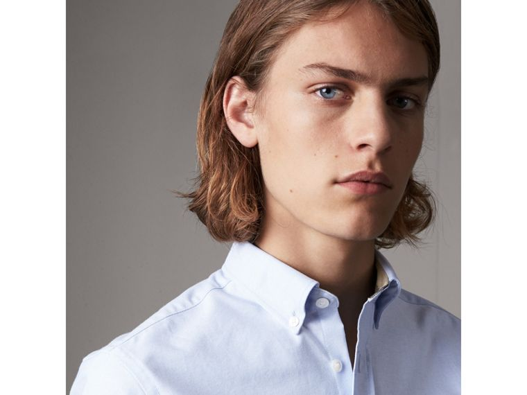 Check Detail Cotton Oxford Shirt in Cornflower Blue - Men | Burberry Canada - cell image 1