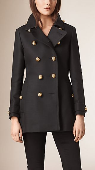 Cotton Wool Blend Military Coat