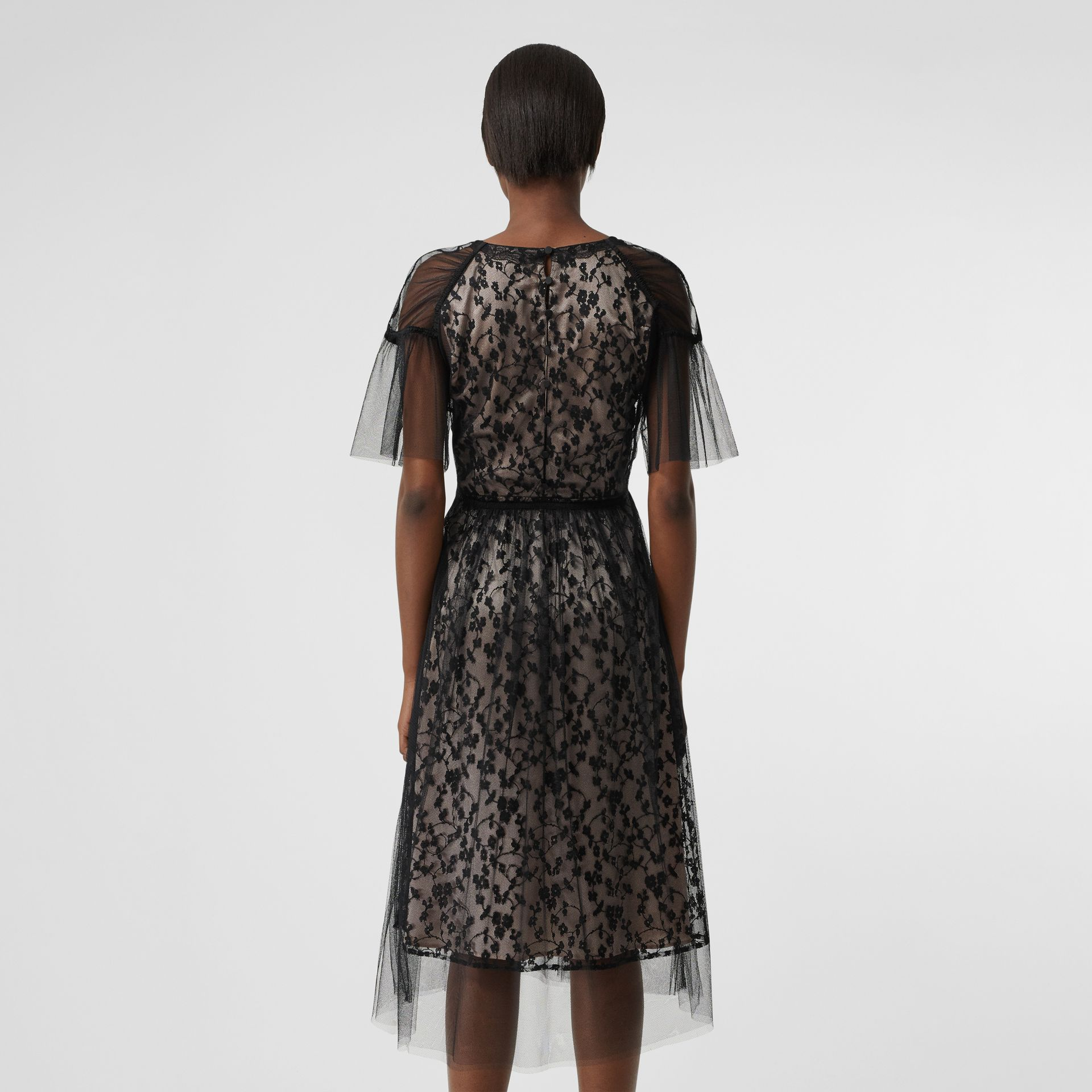 Ruffled Hem Embroidered Tulle Dress in Black - Women | Burberry United Kingdom - gallery image 2