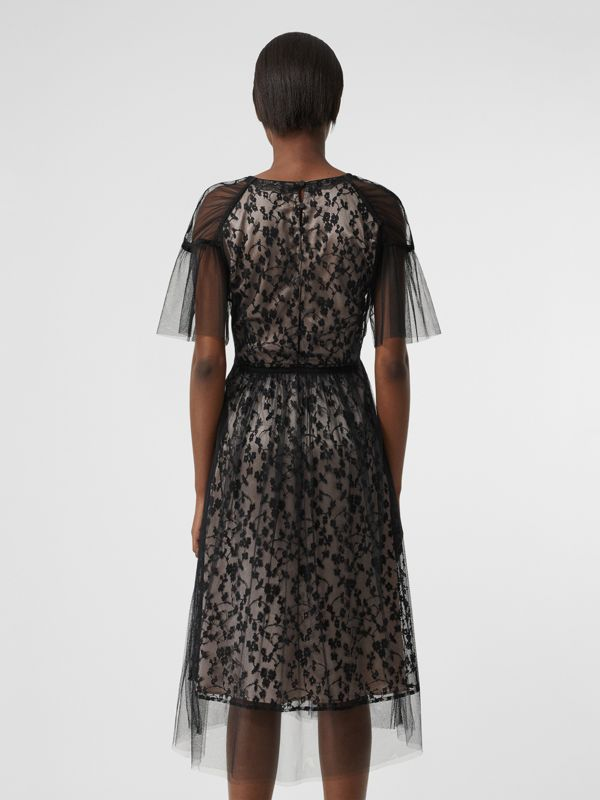 Ruffled Hem Embroidered Tulle Dress in Black - Women | Burberry United Kingdom - cell image 2