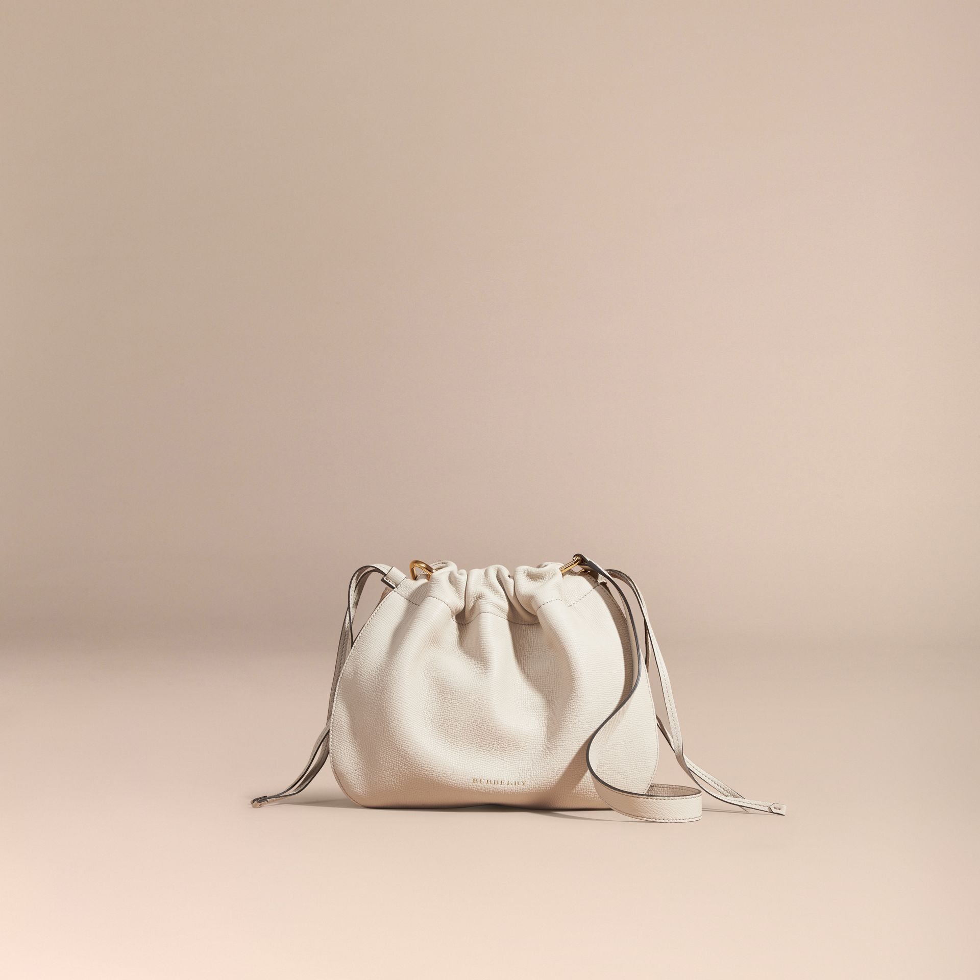 Limestone Grainy Leather and House Check Crossbody Bag Limestone - gallery image 8