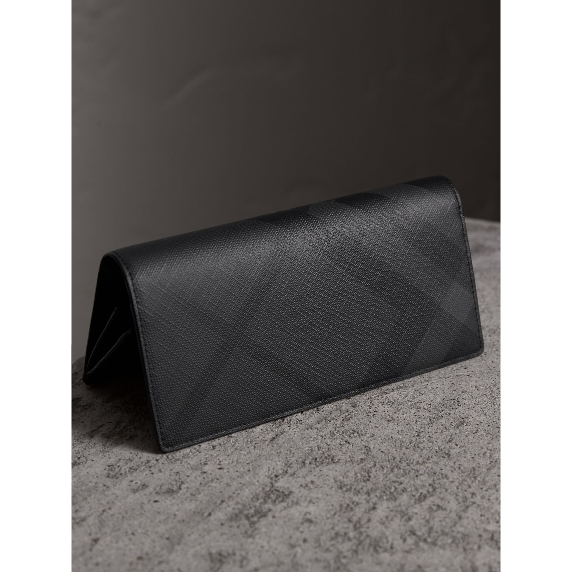 London Check and Leather Continental Wallet in Charcoal/black - Men | Burberry United Kingdom - gallery image 3