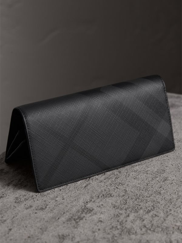 London Check and Leather Continental Wallet in Charcoal/black - Men | Burberry Canada - cell image 2
