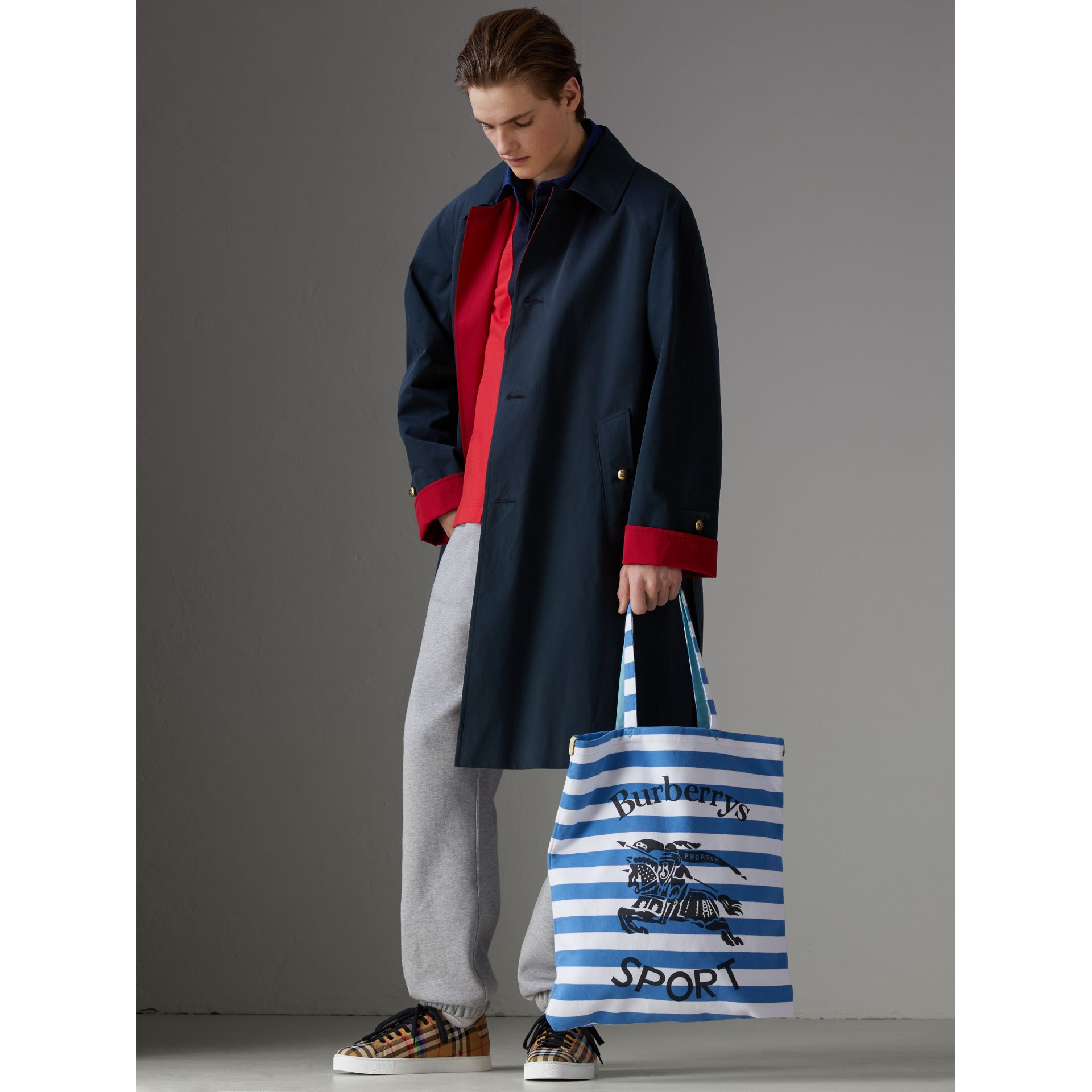 Large Archive Logo Striped Jersey Shopper in Sky Blue/white | Burberry - gallery image 3