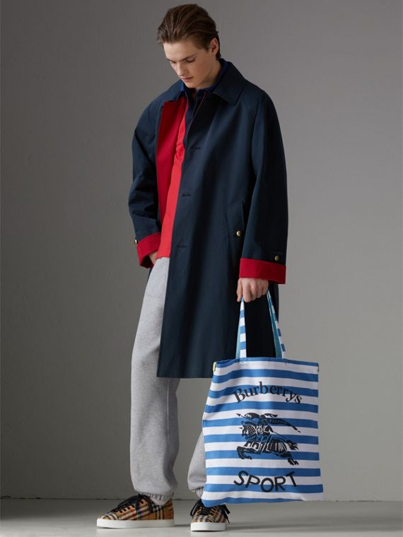 Large Archive Logo Striped Jersey Shopper in Sky Blue/white | Burberry - cell image 3