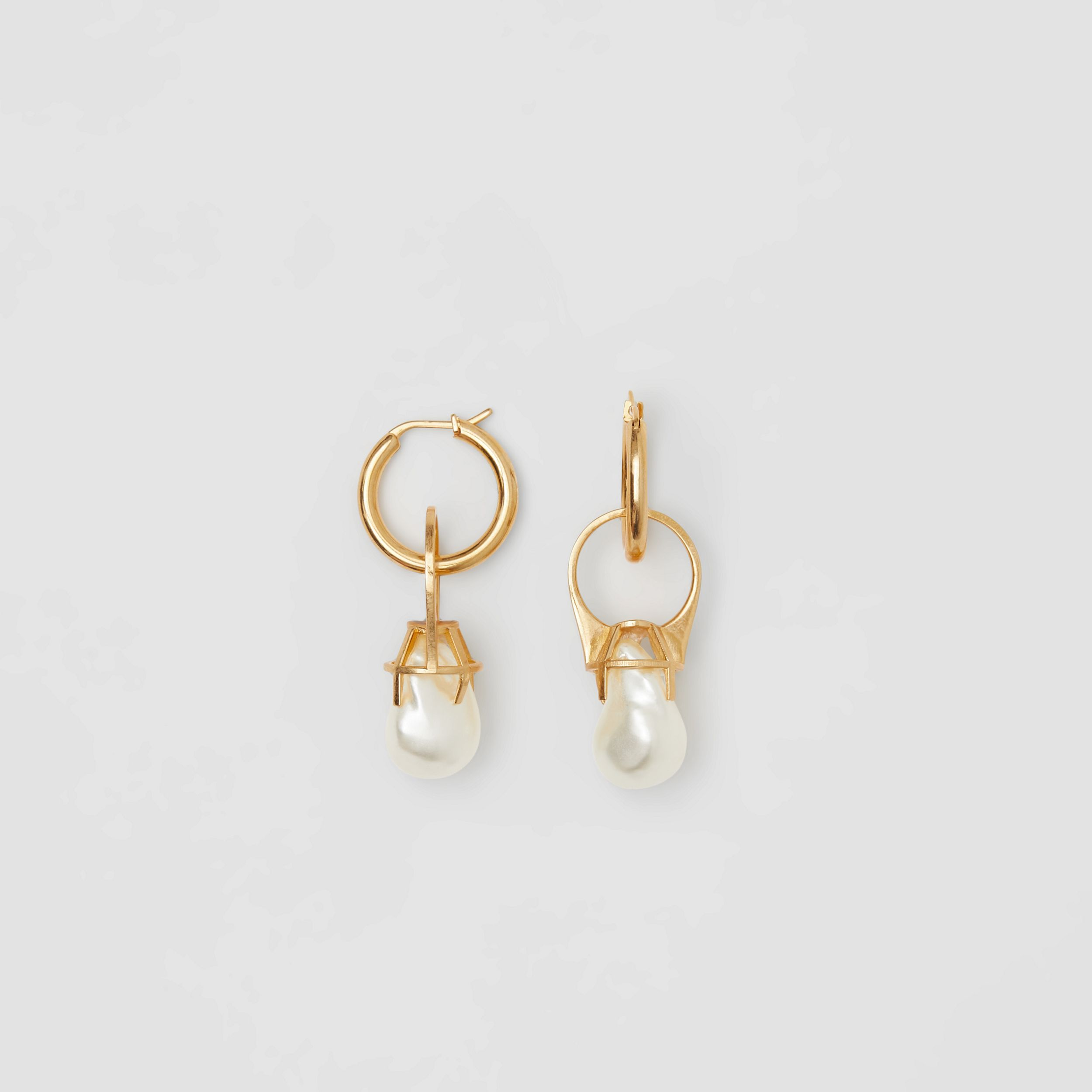 Resin Pearl Ring Gold-plated Hoop Earrings in Light - Women | Burberry United States - 4