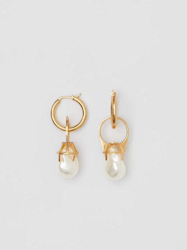 Faux Pearl Ring Detail Gold-plated Hoop Earrings in Light Gold/white - Women | Burberry - cell image 3