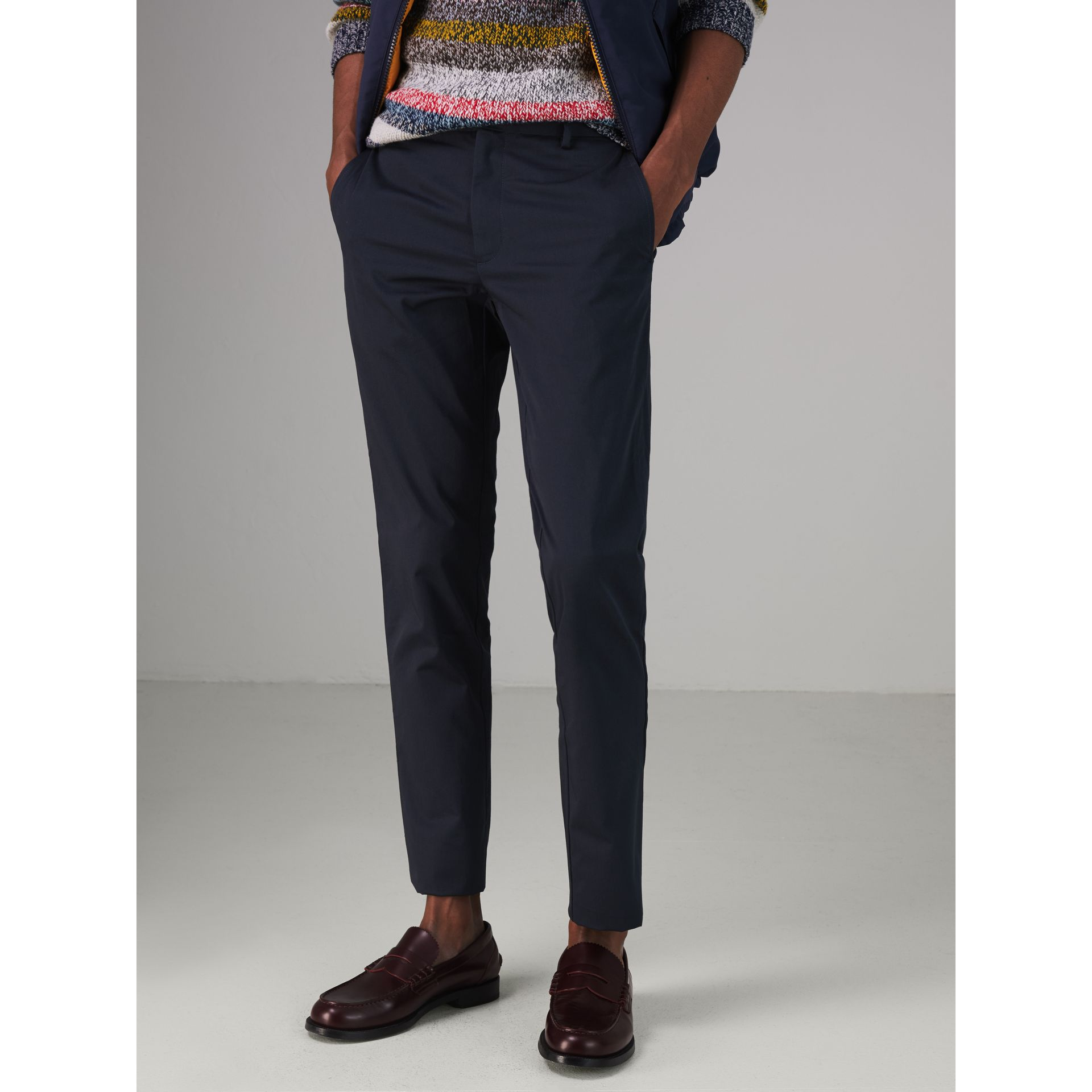 Slim Fit Cotton Chinos in Navy - Men | Burberry - gallery image 4