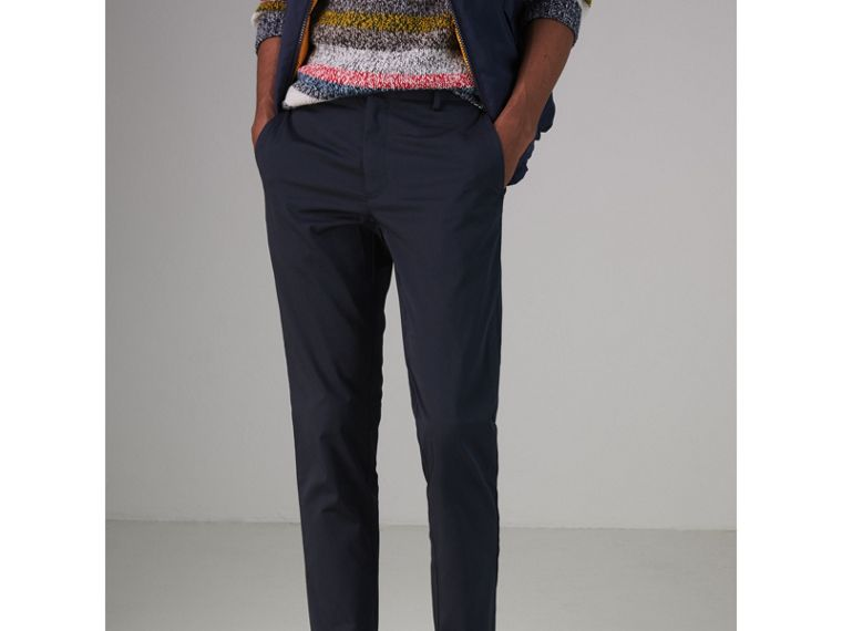 Slim Fit Cotton Chinos in Navy - Men | Burberry - cell image 4