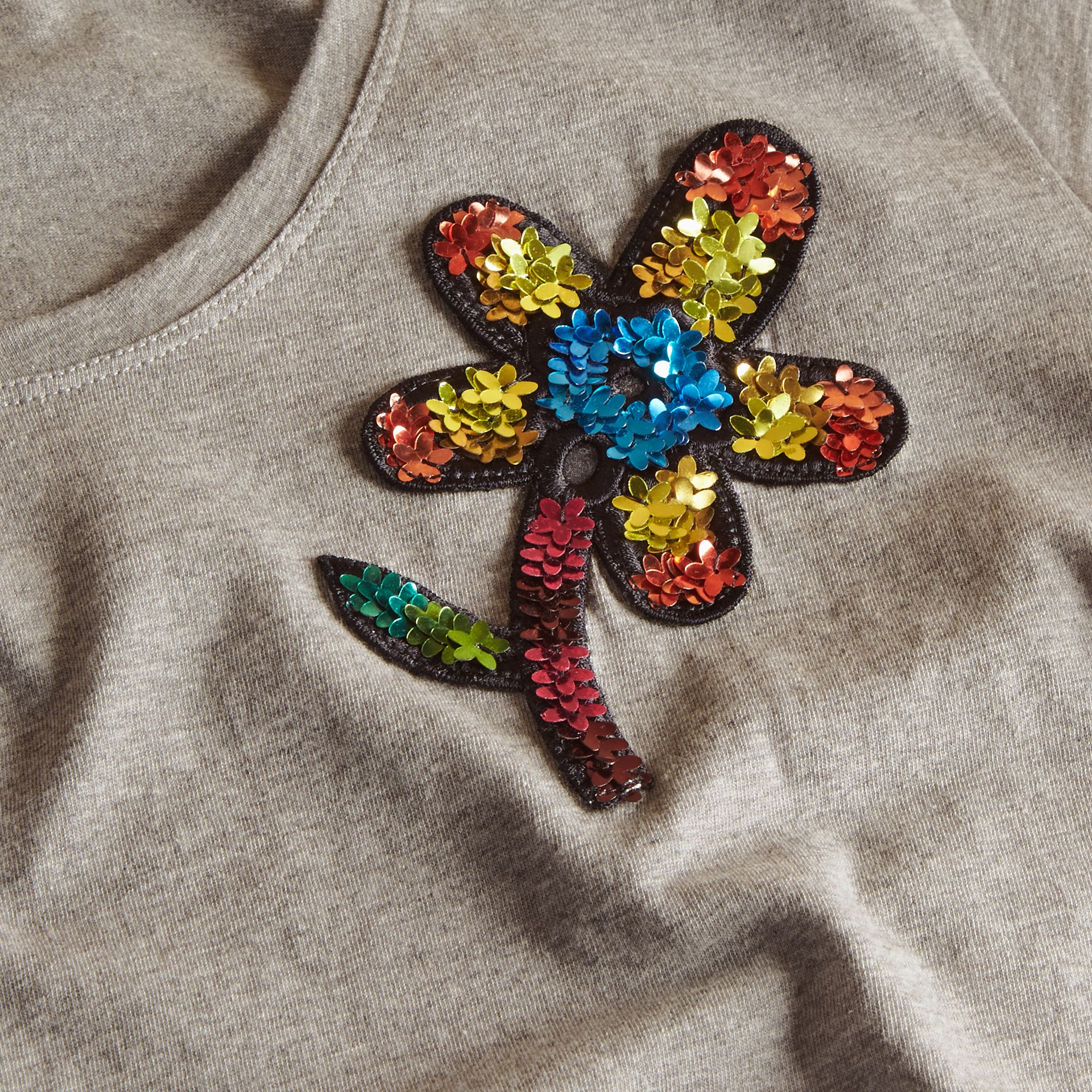 Pale grey melange Sequin Floral Appliqué Cotton T-Shirt Pale Grey Melange - gallery image 2