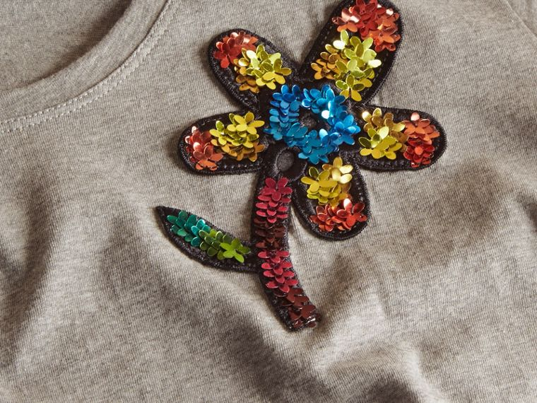 Pale grey melange Sequin Floral Appliqué Cotton T-Shirt Pale Grey Melange - cell image 1