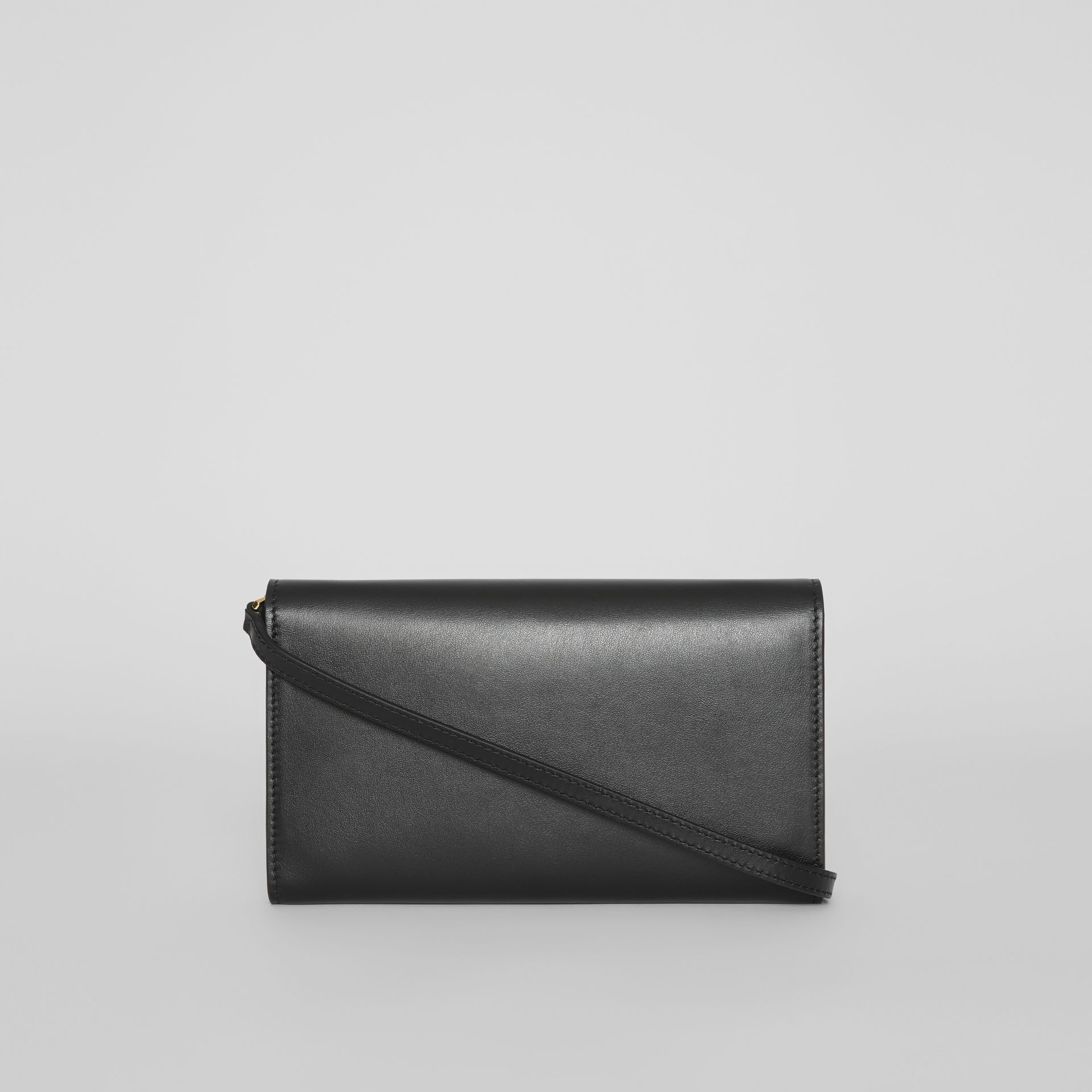 Monogram Motif Leather Wallet with Detachable Strap in Black - Women | Burberry Australia - gallery image 6