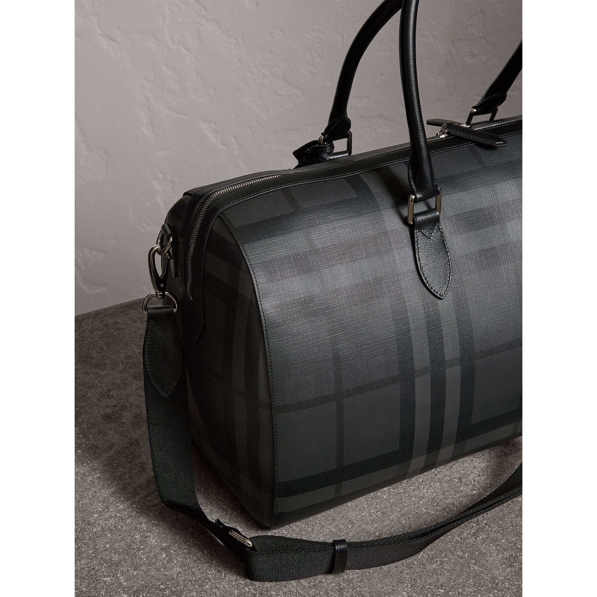 Leather Trim London Check Holdall in Charcoal/black - Men | Burberry - gallery image 4