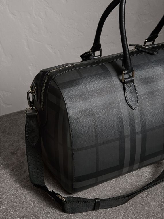 Leather Trim London Check Holdall in Charcoal/black - Men | Burberry Hong Kong - cell image 2