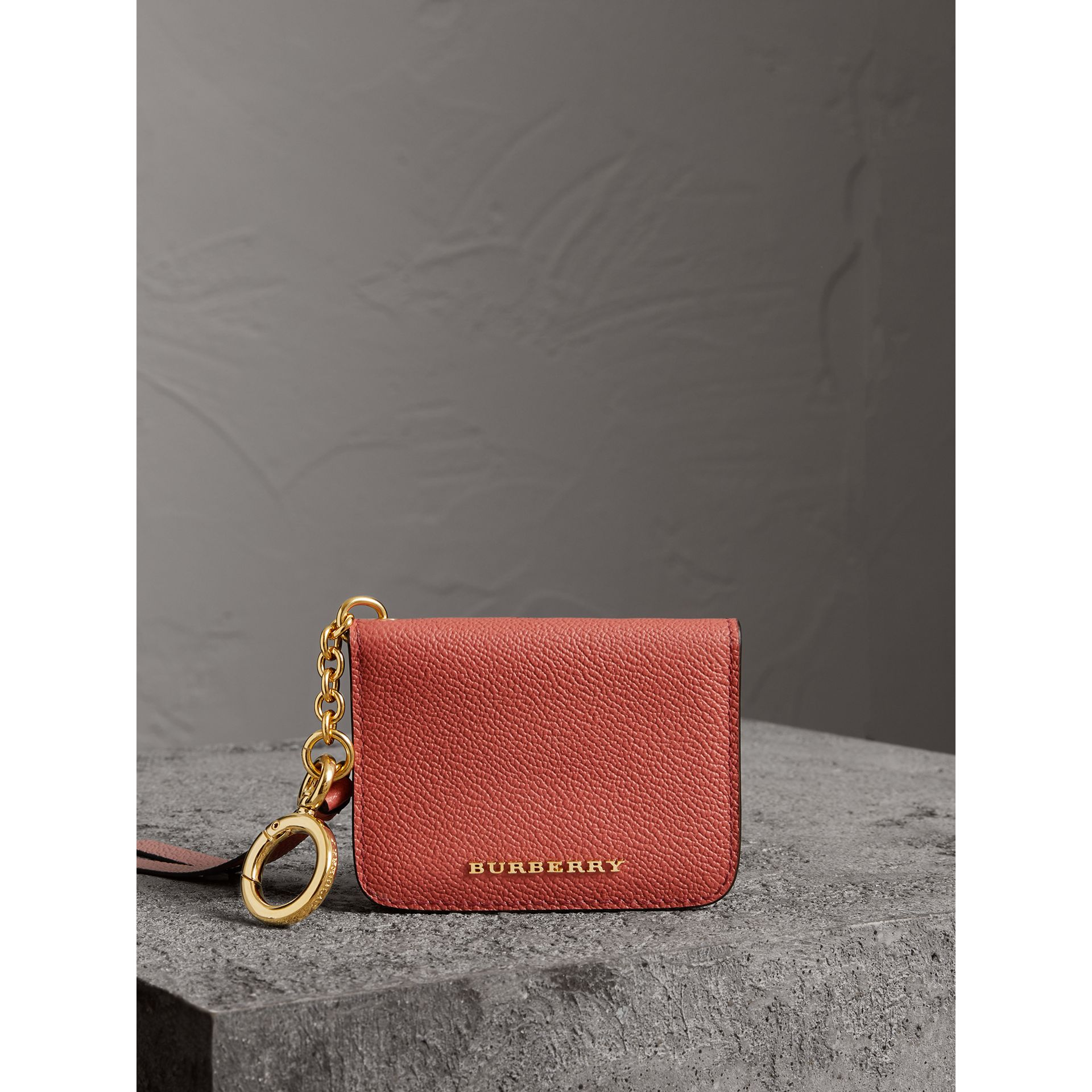 Leather and Haymarket Check ID Card Case Charm in Cinnamon Red/multi - Women | Burberry United Kingdom - gallery image 5