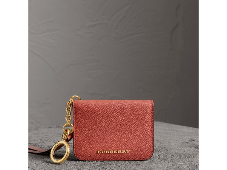 Leather and Haymarket Check ID Card Case Charm in Cinnamon Red/multi - Women | Burberry United Kingdom - cell image 4