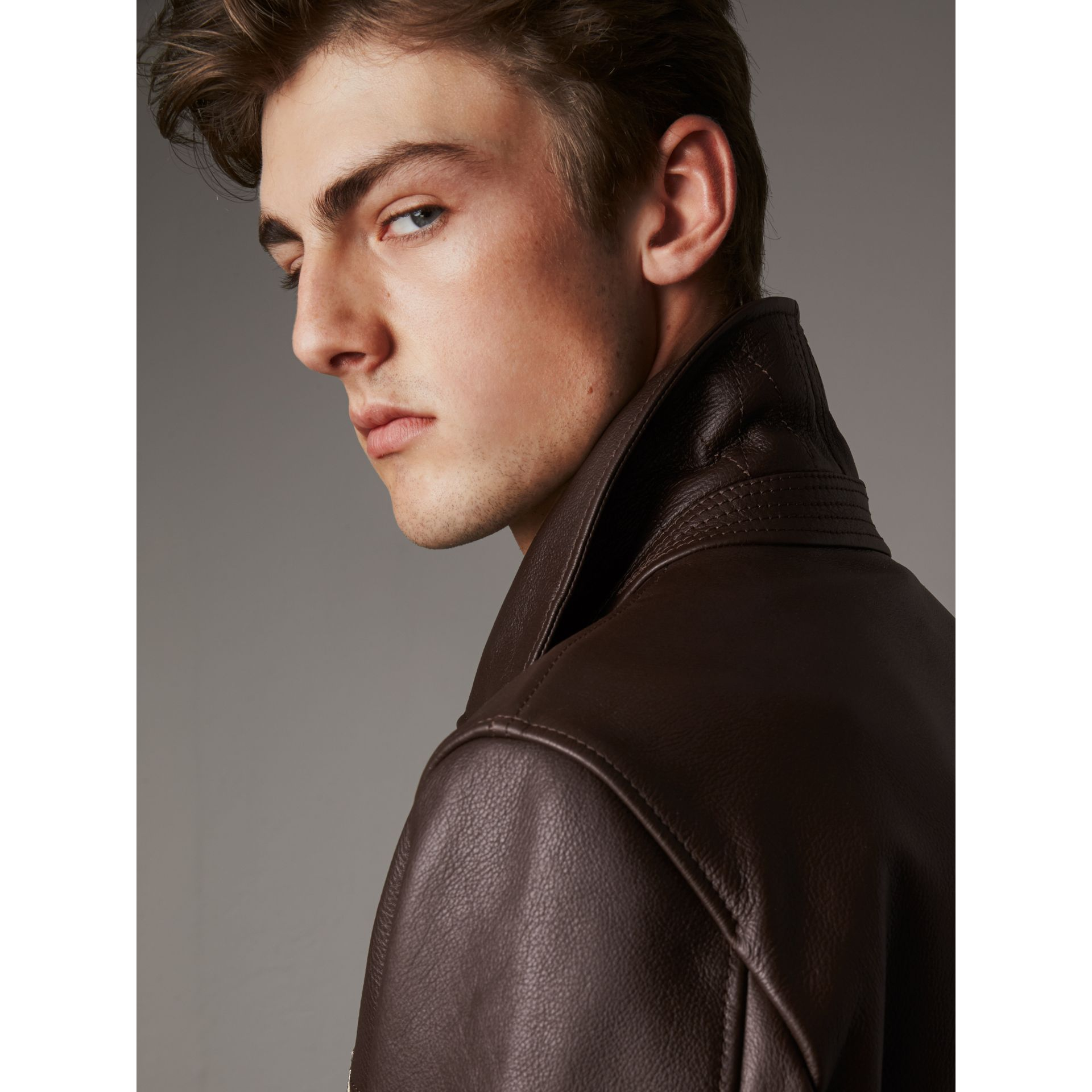 Tumbled Leather Jacket in Bitter Chocolate - Men | Burberry - gallery image 2