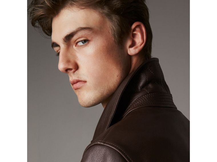 Tumbled Leather Jacket in Bitter Chocolate - Men | Burberry United Kingdom - cell image 1