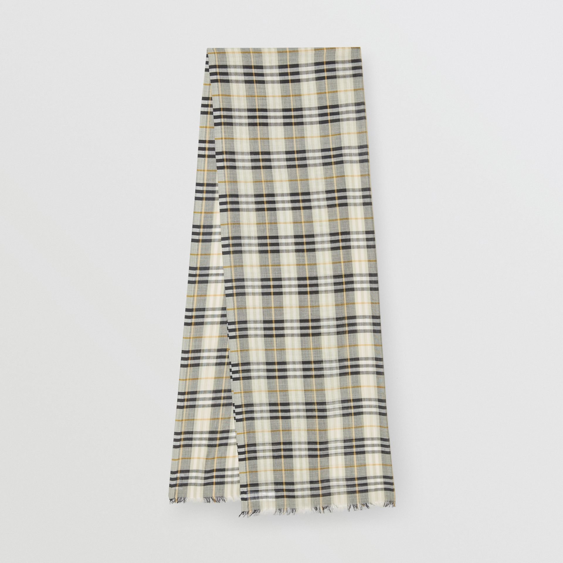 Vintage Check Lightweight Wool Silk Scarf in Sage Green | Burberry Australia - gallery image 0