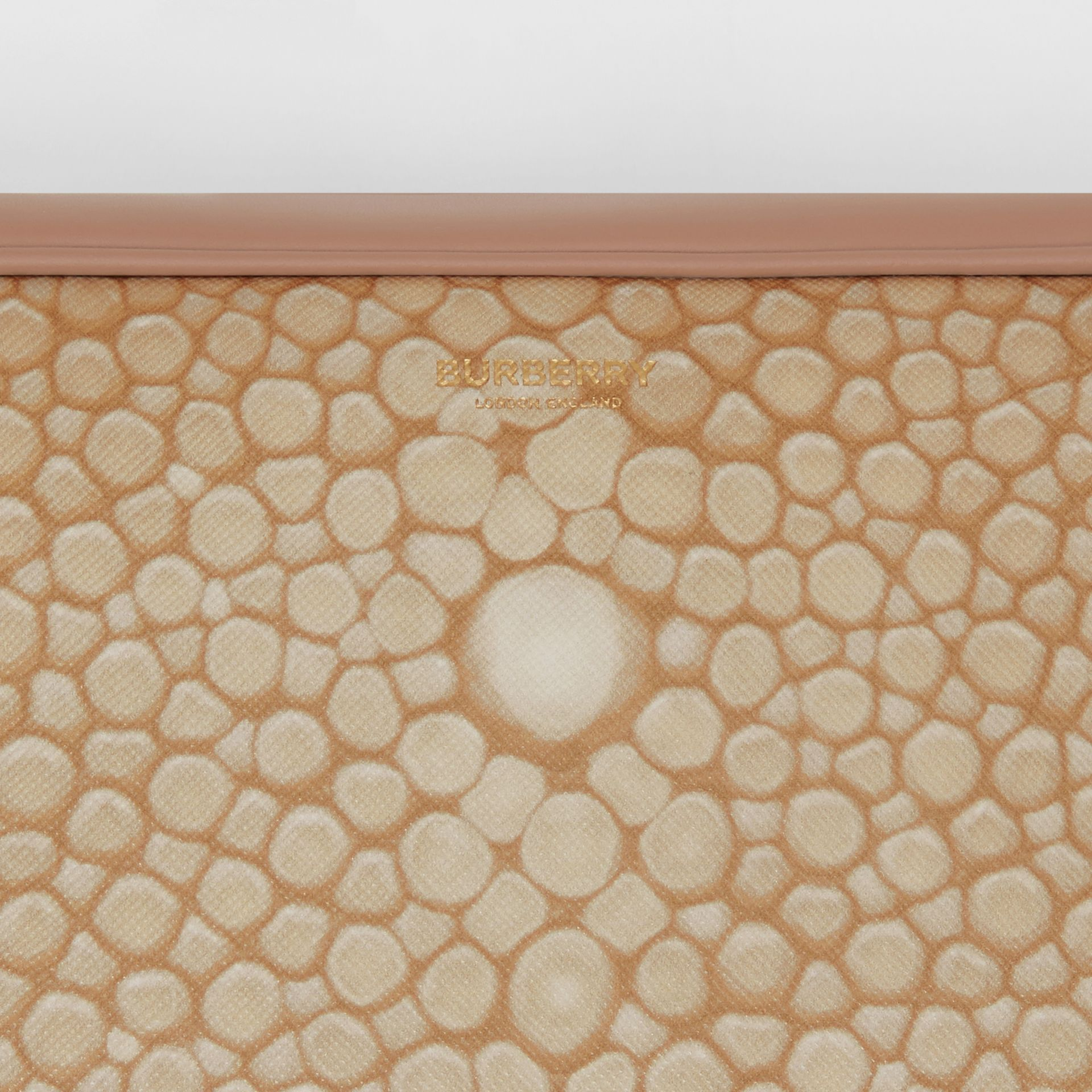Fish-scale Print and Leather Cube Bum Bag in Light Sand - Women | Burberry Australia - gallery image 1