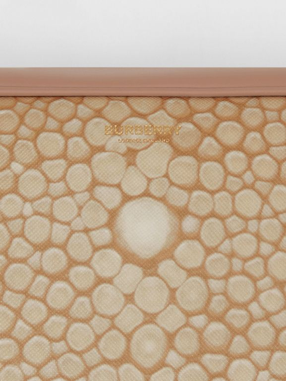 Fish-scale Print and Leather Cube Bum Bag in Light Sand - Women | Burberry - cell image 1