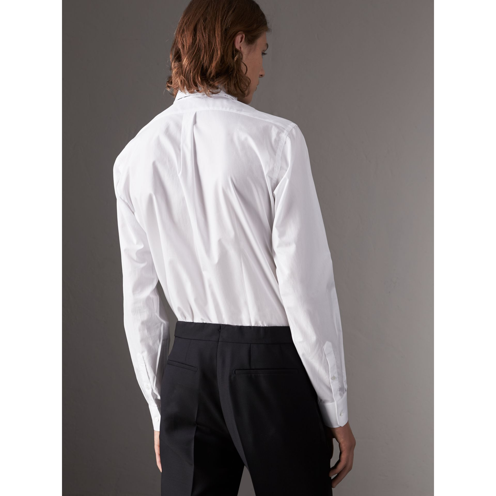 Modern Fit Cotton Poplin Dress Shirt in White - Men | Burberry - gallery image 3