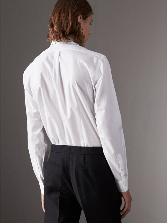 Modern Fit Cotton Poplin Dress Shirt in White - Men | Burberry United Kingdom - cell image 2