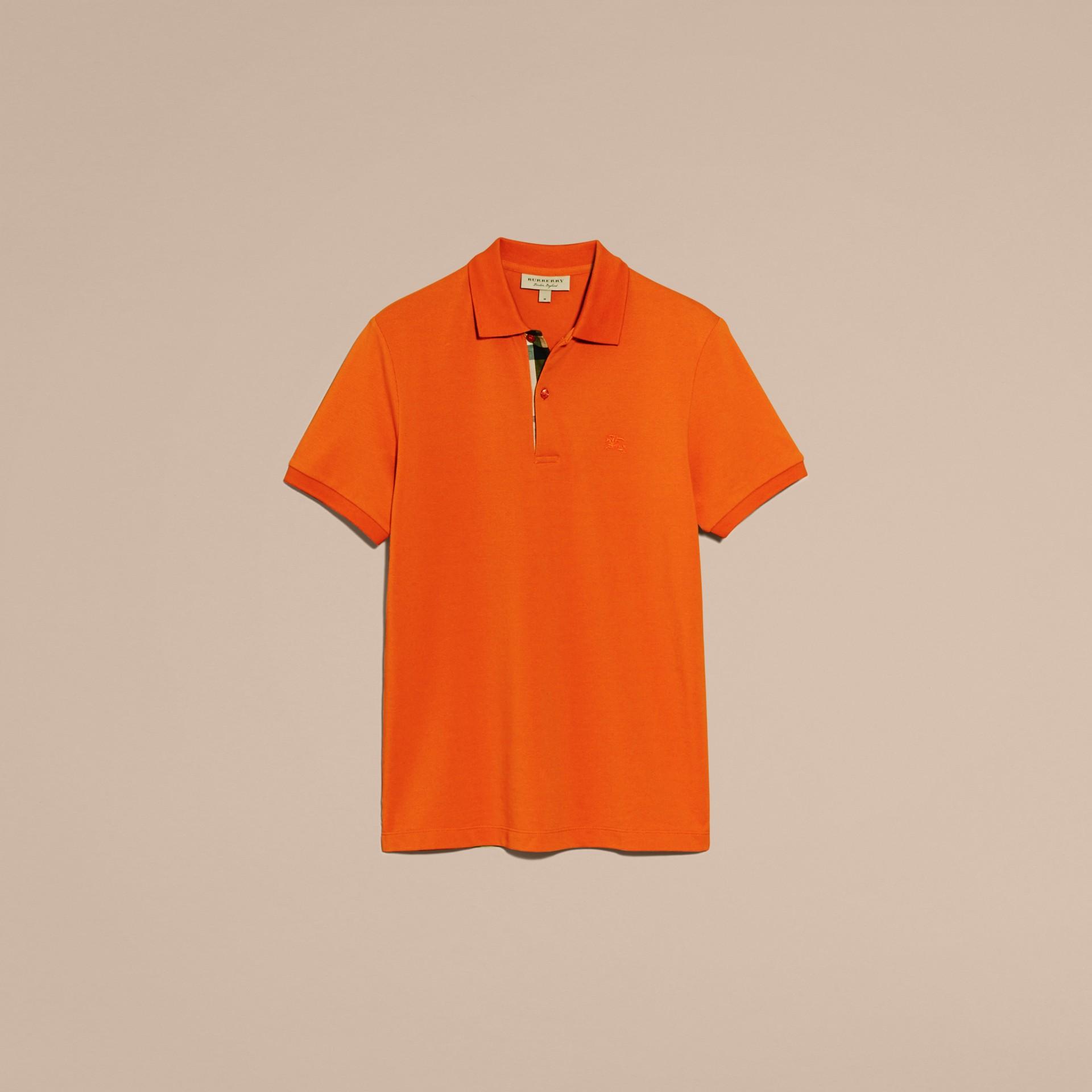 Check Placket Cotton Piqué Polo Shirt Clementine - gallery image 4