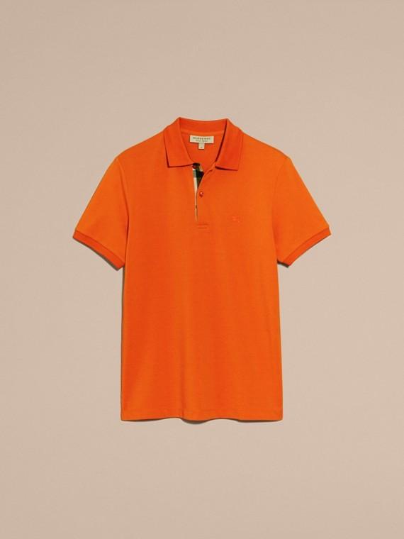 Check Placket Cotton Piqué Polo Shirt Clementine - cell image 3