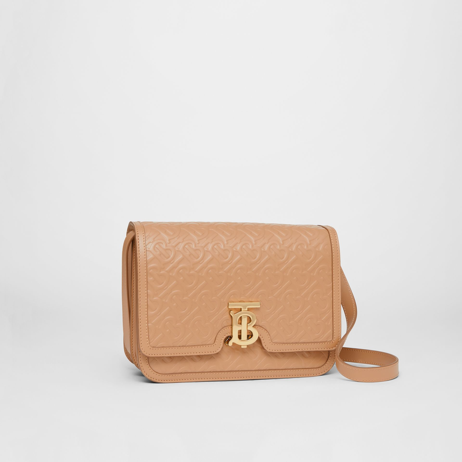 Medium Monogram Leather TB Bag in Light Camel - Women | Burberry - gallery image 4