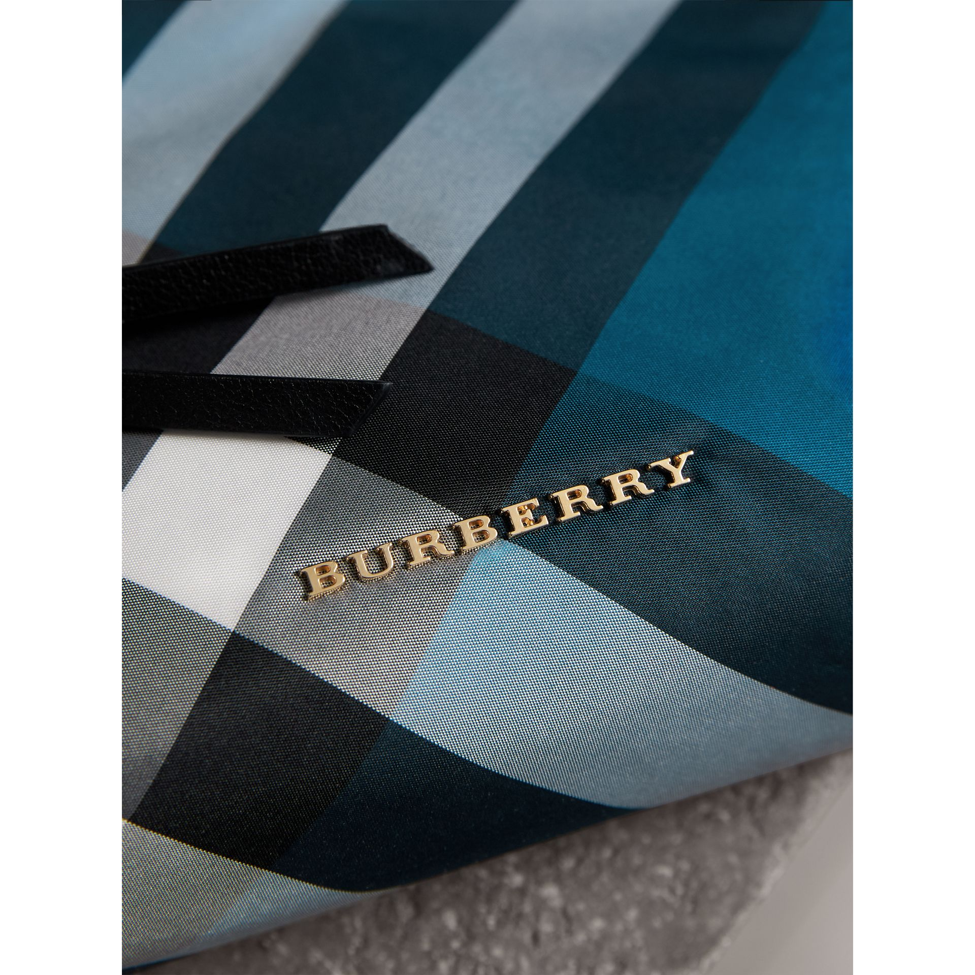 Large Zip-top Check Pouch in Marine Blue - Women | Burberry - gallery image 2