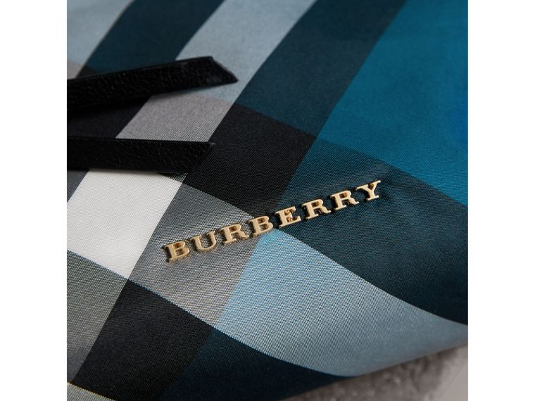 Large Zip-top Check Pouch in Marine Blue - Women | Burberry - cell image 1