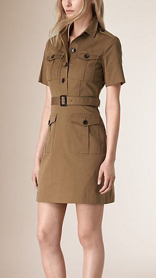Stretch Cotton Utility Dress