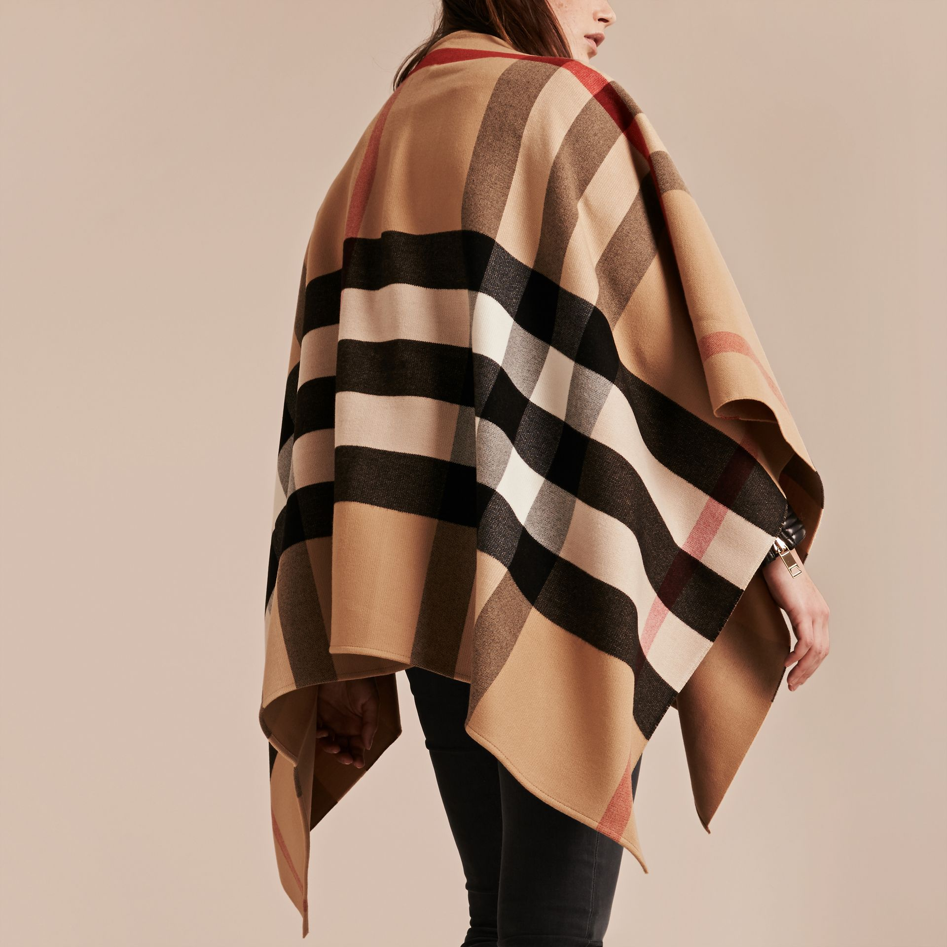 Check Wool Poncho in Camel - Women | Burberry - gallery image 1
