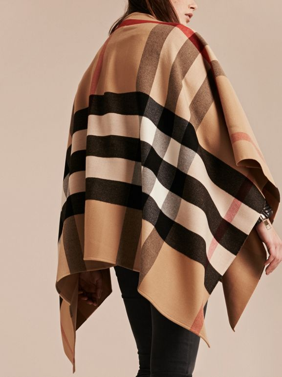 Check Wool Poncho in Camel - Women | Burberry - cell image 1