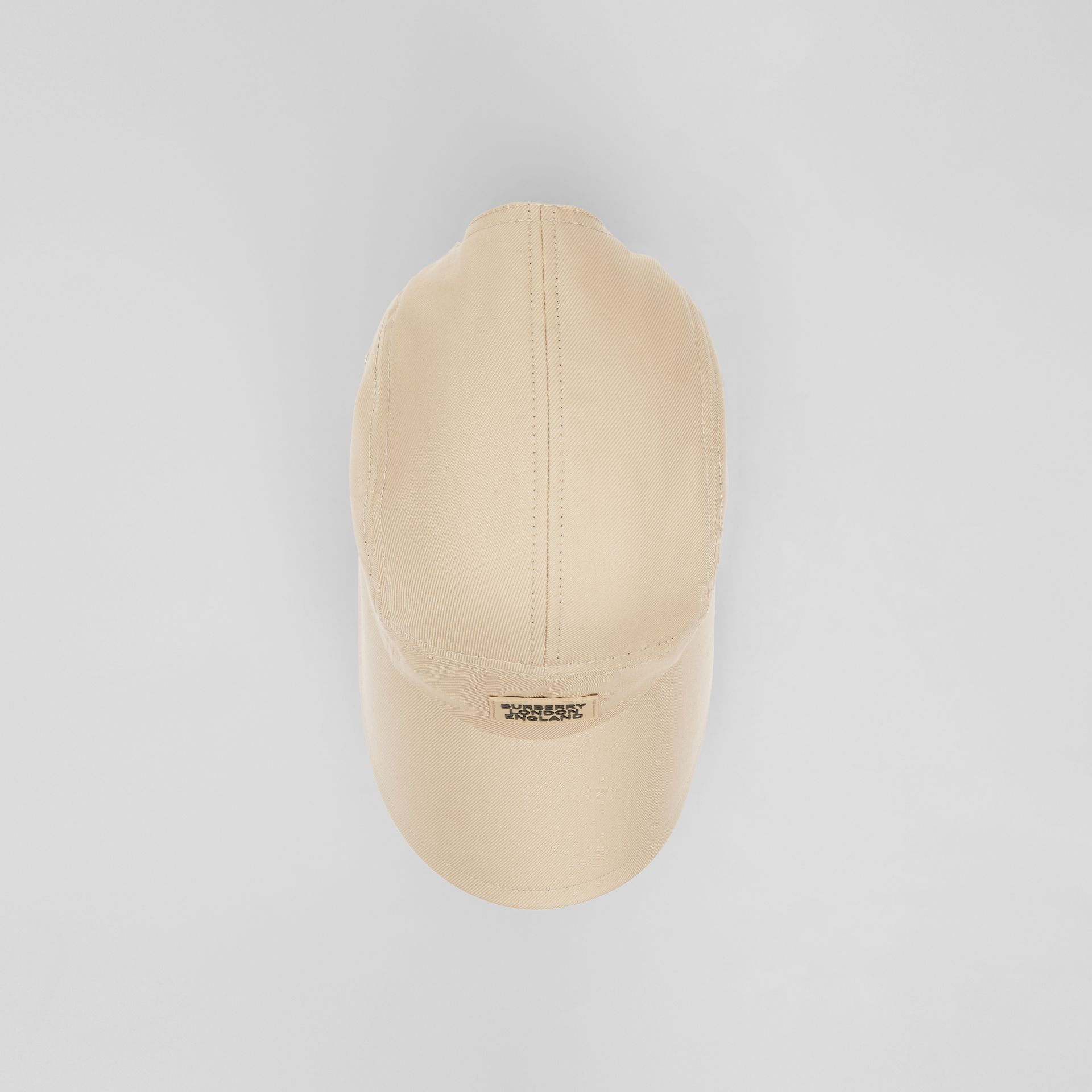 Logo Appliqué Cotton Twill Bonnet Cap in Soft Fawn | Burberry - gallery image 4