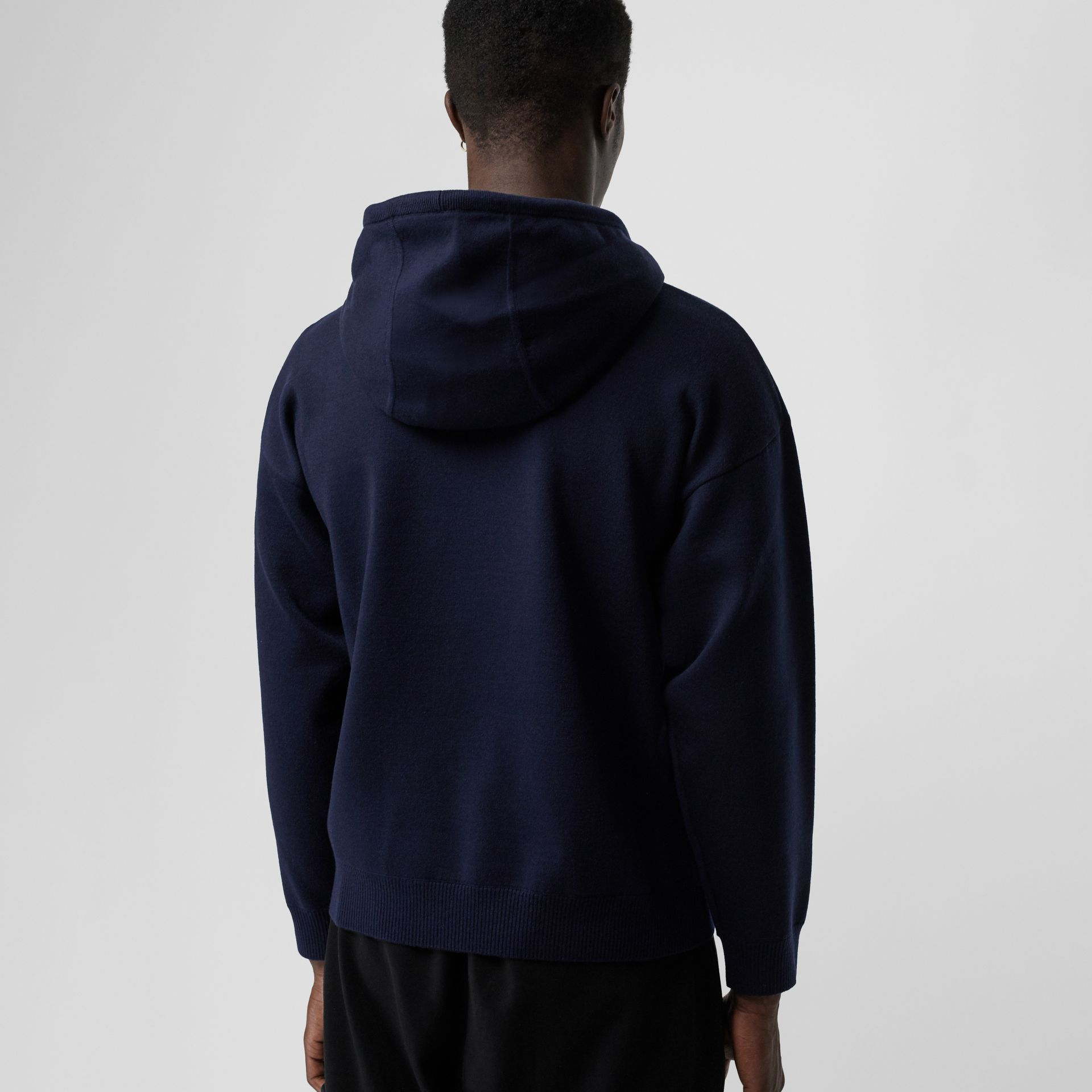 Crest Merino Wool Blend Jacquard Hoodie in Navy - Men | Burberry - gallery image 2
