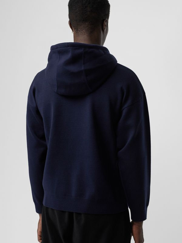 Crest Merino Wool Blend Jacquard Hoodie in Navy - Men | Burberry - cell image 2