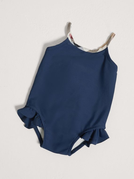 Check Trim Swimsuit in Navy