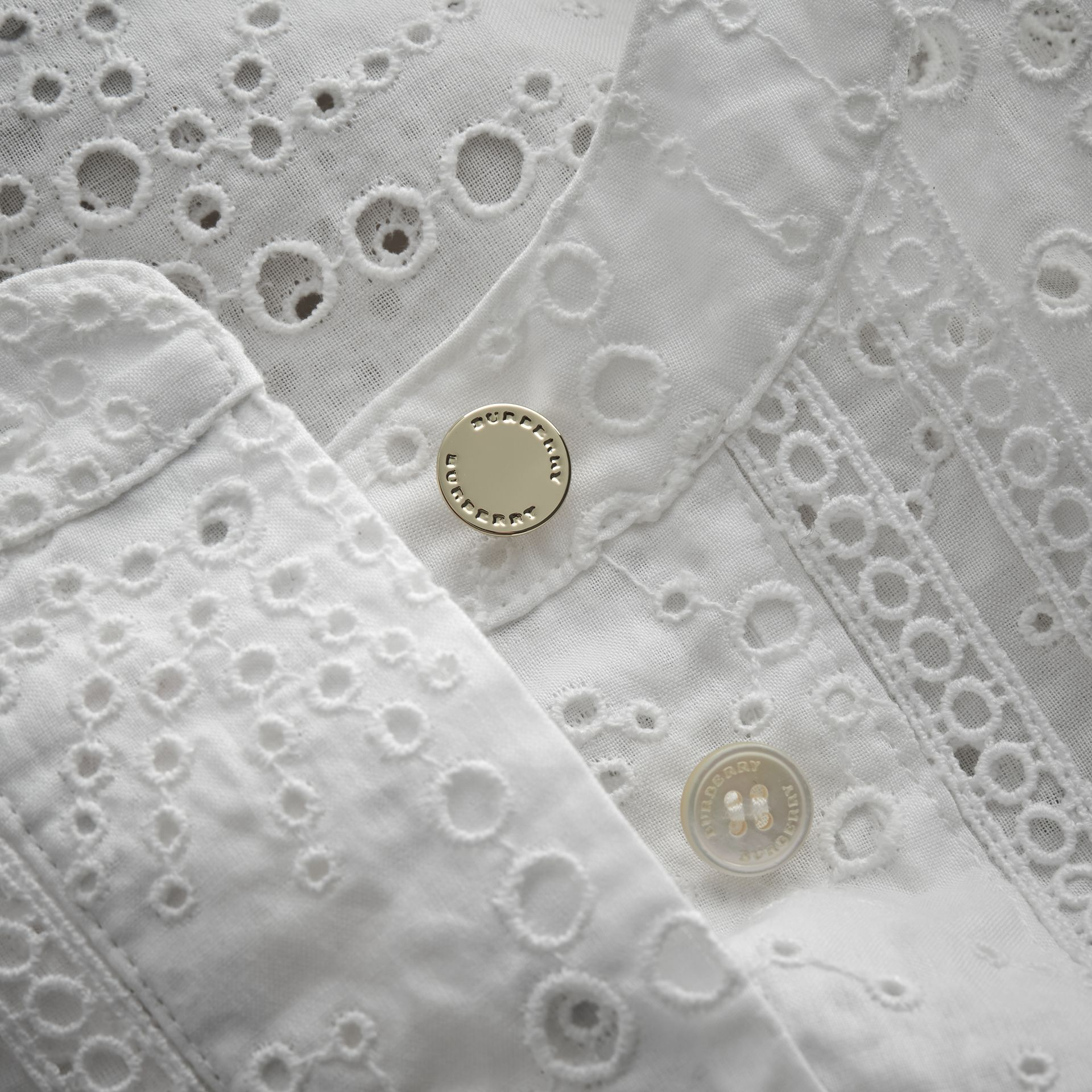 Collarless Broderie Anglaise Shirt Dress - gallery image 2