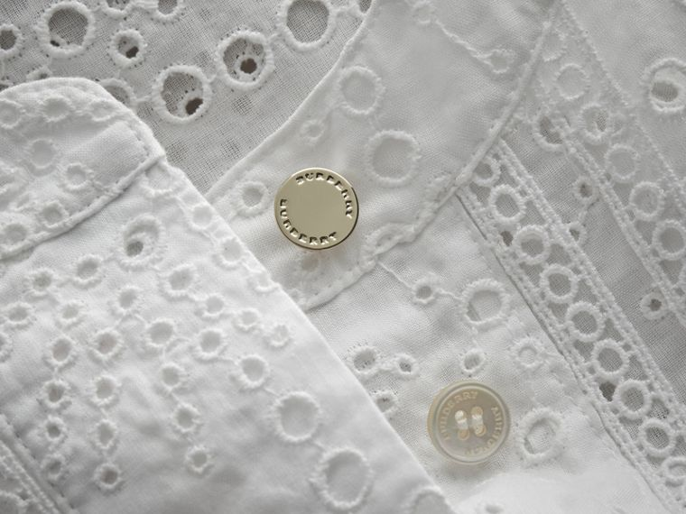 Collarless Broderie Anglaise Shirt Dress - cell image 1